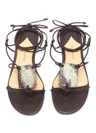 Detail View - Click To Enlarge - PAUL ANDREW - 'Pearl Diver' elphae print plaque strappy leather sandals