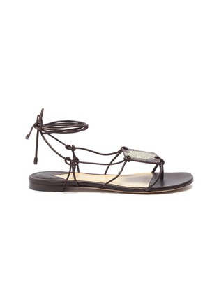 Main View - Click To Enlarge - PAUL ANDREW - 'Pearl Diver' elphae print plaque strappy leather sandals