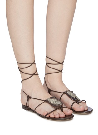 Figure View - Click To Enlarge - PAUL ANDREW - 'Pearl Diver' elphae print plaque strappy leather sandals