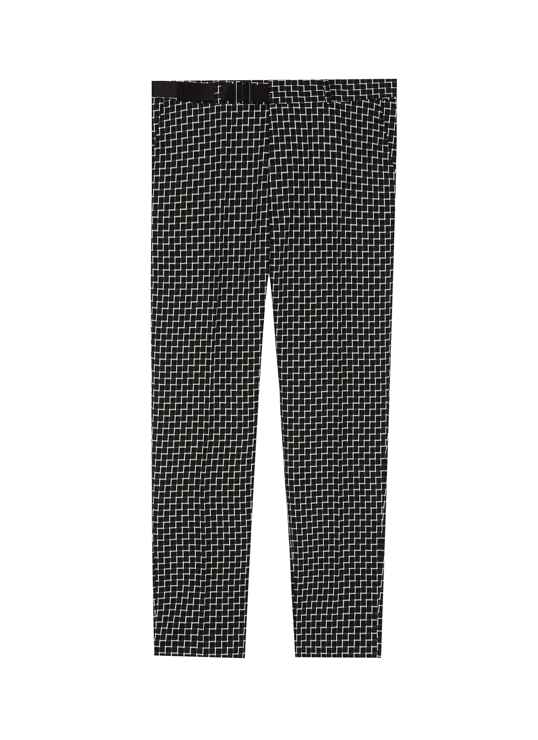 90201916b1 Main View - Click To Enlarge - Topman - Belted grid print cropped skinny  pants