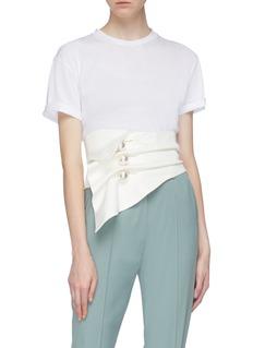 KIMHĒKIM 'Venus' faux pearl button gathered drape corset belt