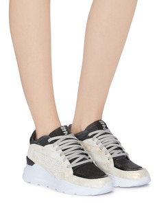 P448 'E9 Leia' chunky outsole patchwork sneakers