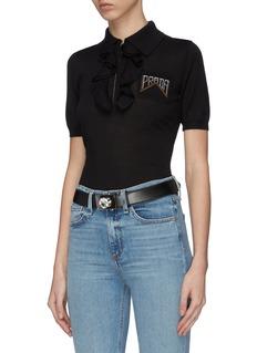 Miu Miu Glass crystal leather belt