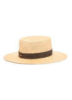 Janessa Leoné 'Jade' suede ribbon straw boater hat