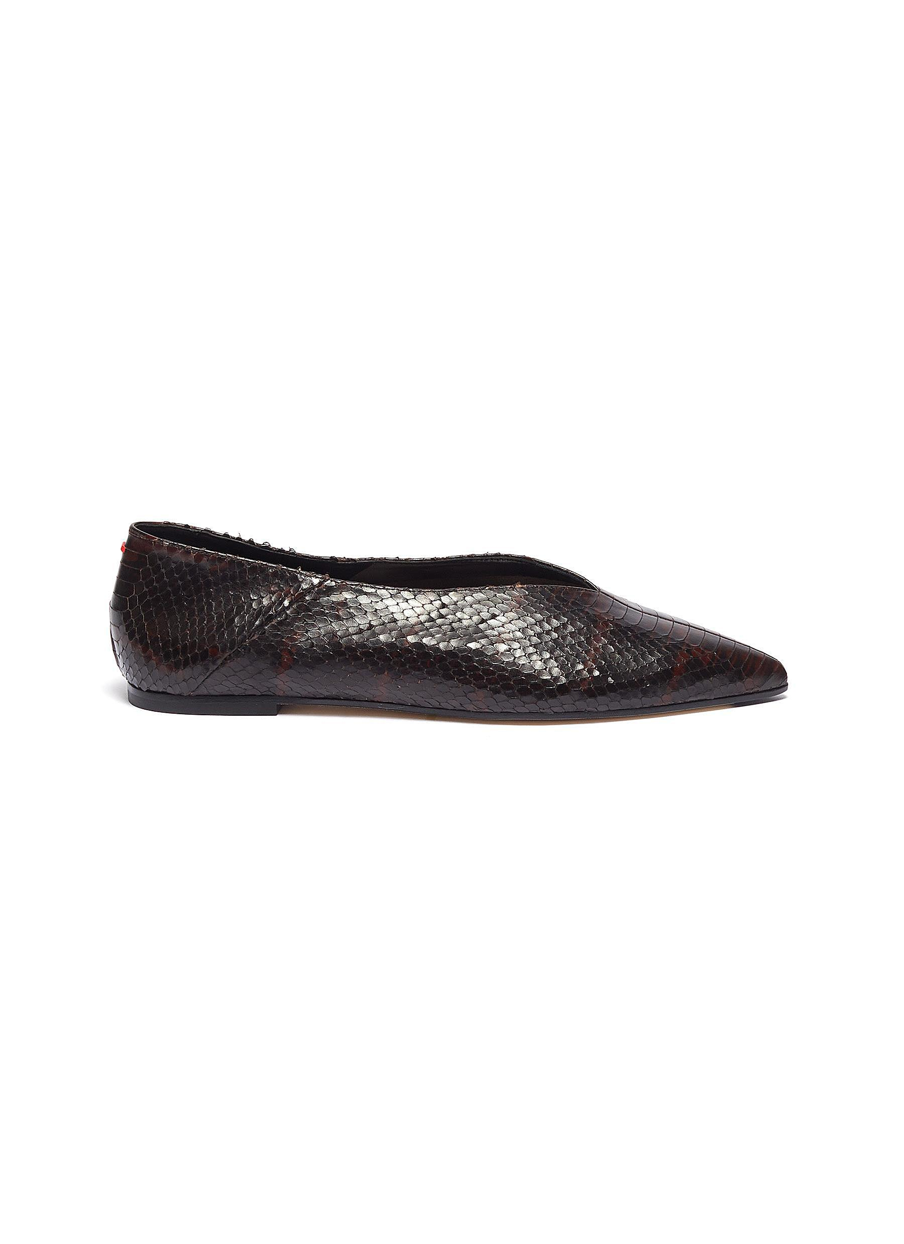 Moa snake embossed choked-up leather flats by Aeyde