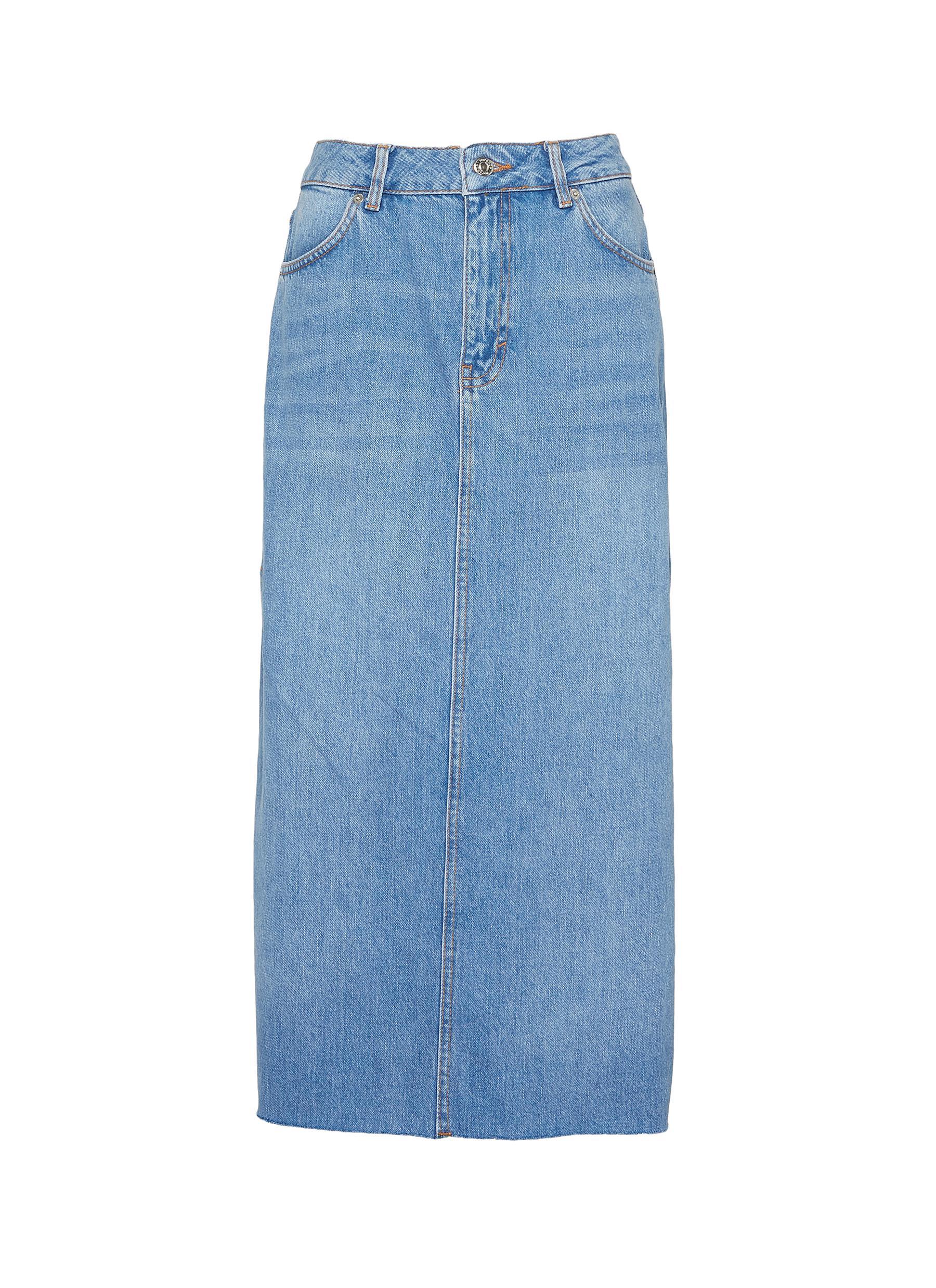 4120cbe922 Main View - Click To Enlarge - Topshop - Side split denim skirt