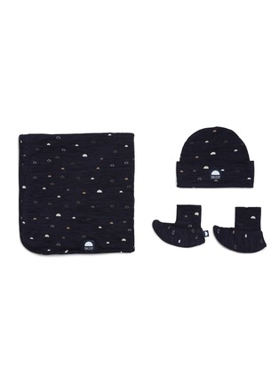Main View - Click To Enlarge - SHLEEP - The Shleep Merino jersey swaddle set – Night Sky Print