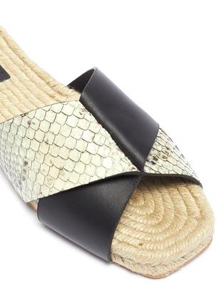 Detail View - Click To Enlarge - MERCEDES CASTILLO - 'Xane' colourblock cross strap leather espadrille slide sandals