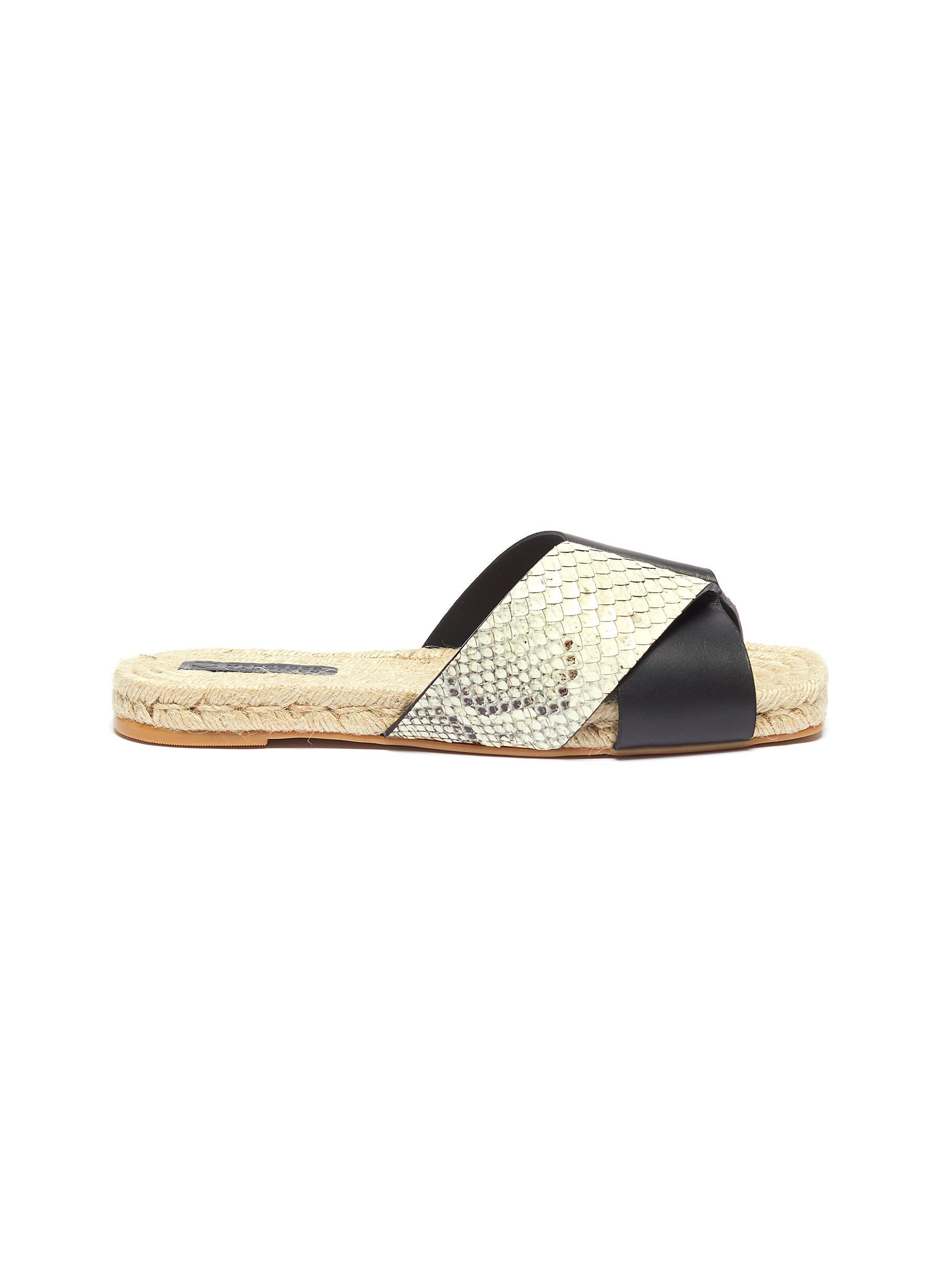 Xane colourblock cross strap leather espadrille slide sandals by Mercedes Castillo