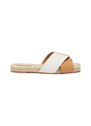 Main View - Click To Enlarge - MERCEDES CASTILLO - 'Xane' colourblock cross strap leather espadrille slide sandals
