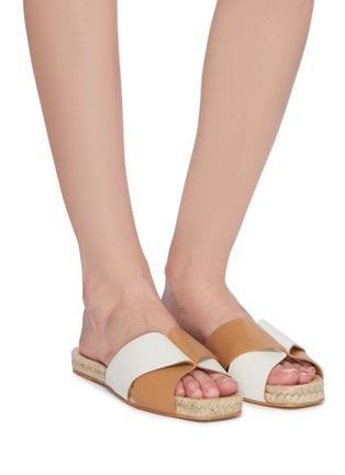 Figure View - Click To Enlarge - MERCEDES CASTILLO - 'Xane' colourblock cross strap leather espadrille slide sandals