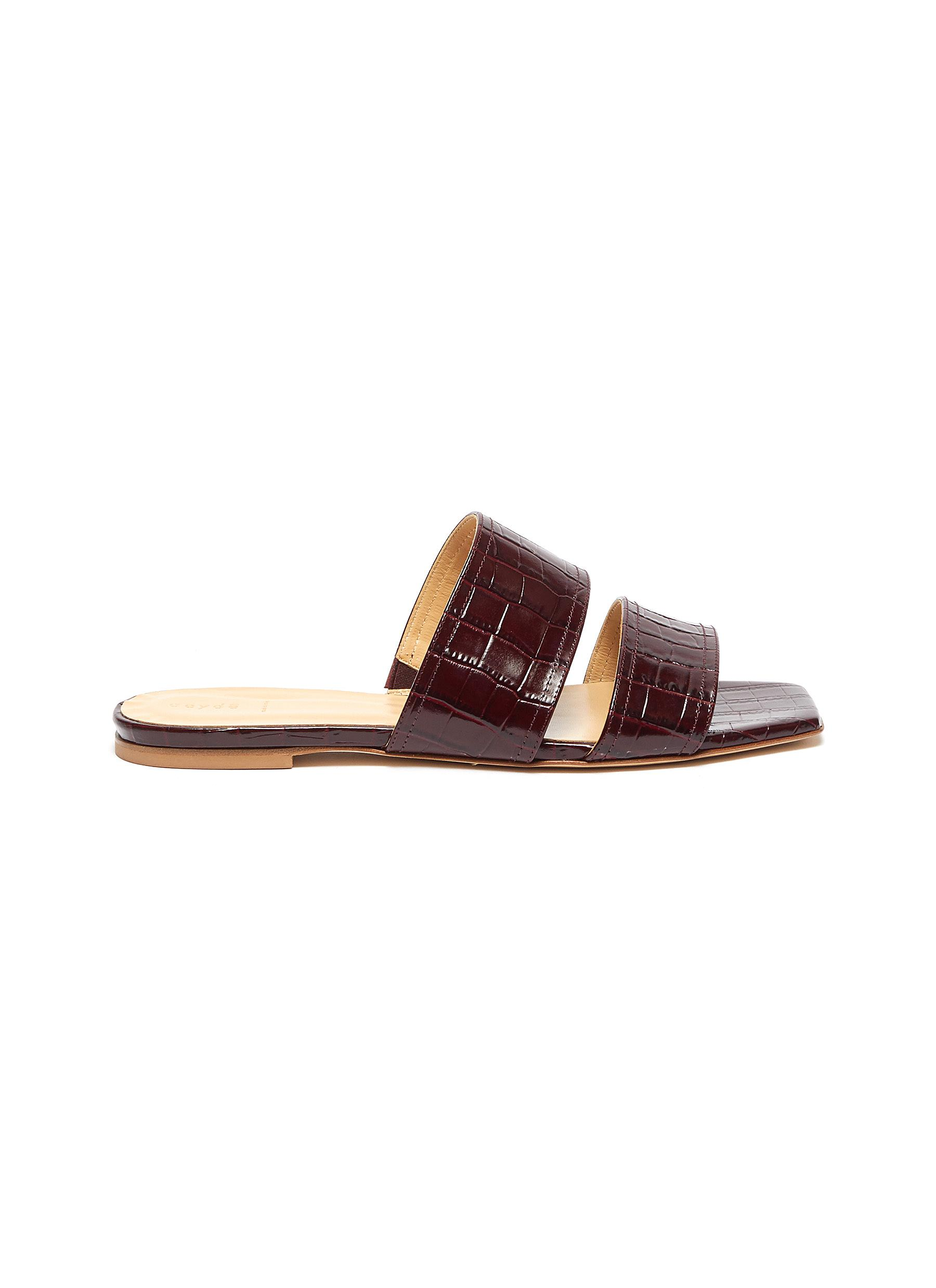 Mattea croc embossed leather slide sandals by Aeyde