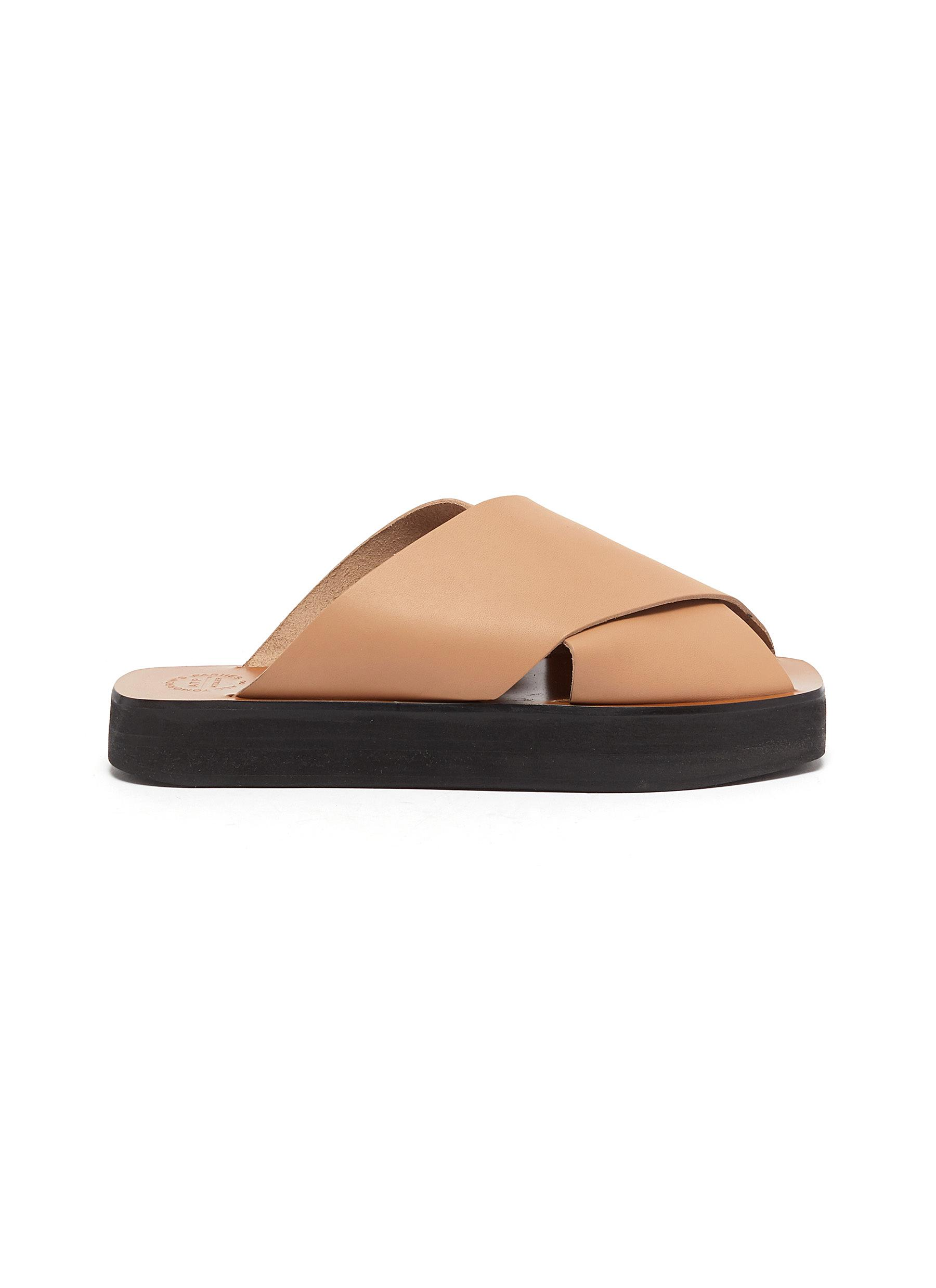 Atp Atelier 'Acai' Cross Band Leather Slide Sandals