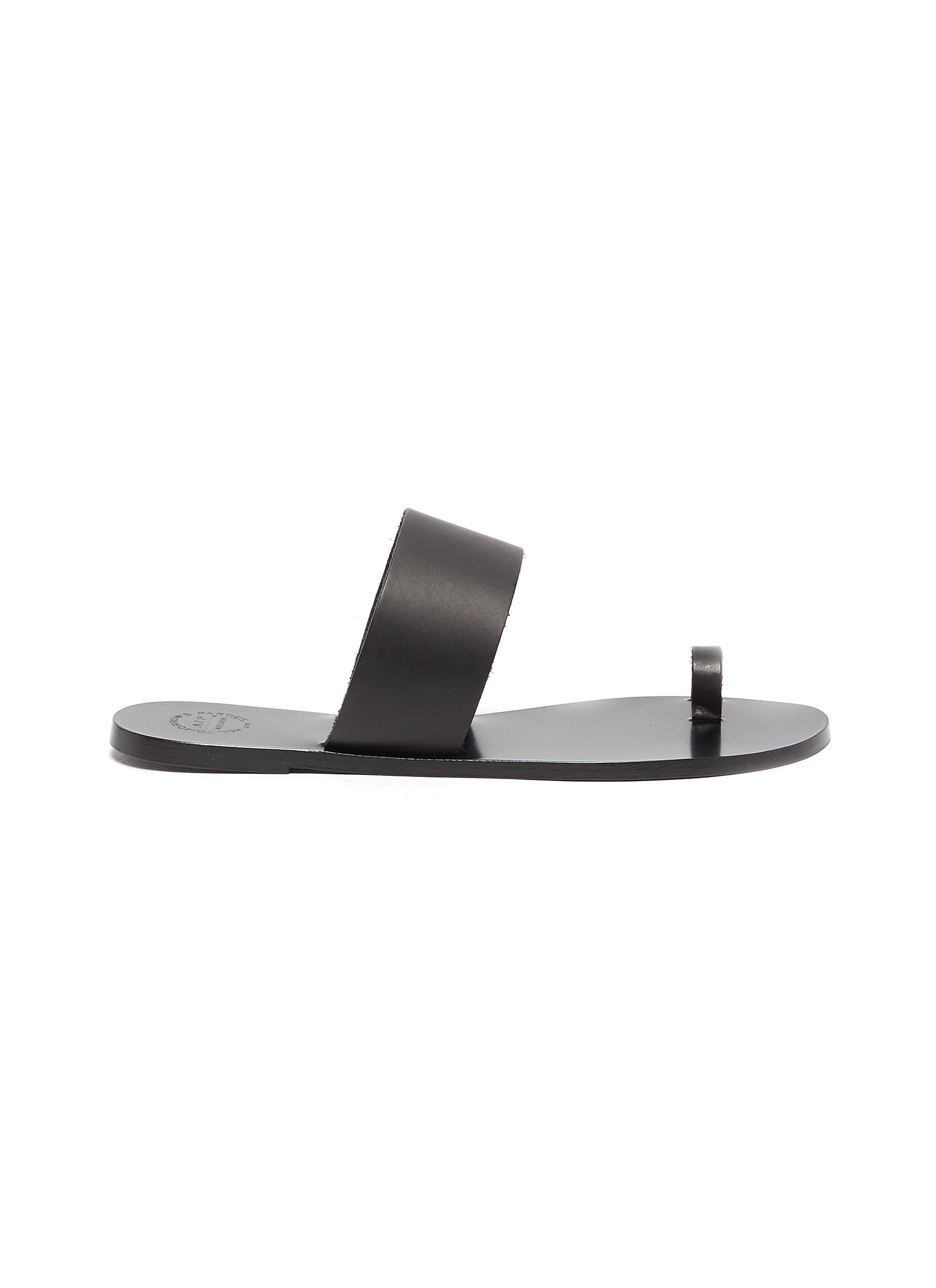 Atp Atelier Flats Astrid toe ring leather slide sandals