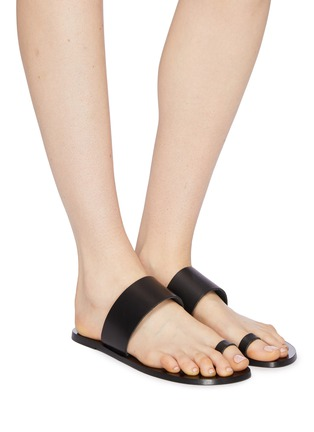 Figure View - Click To Enlarge - ATP ATELIER - 'Astrid' toe ring leather slide sandals