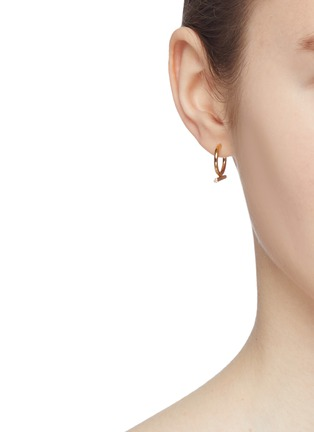 6f6e47bc45bc4f HYÈRES LOR. 'Noailles' diamond 15mm bar 14k yellow gold hoop earrings