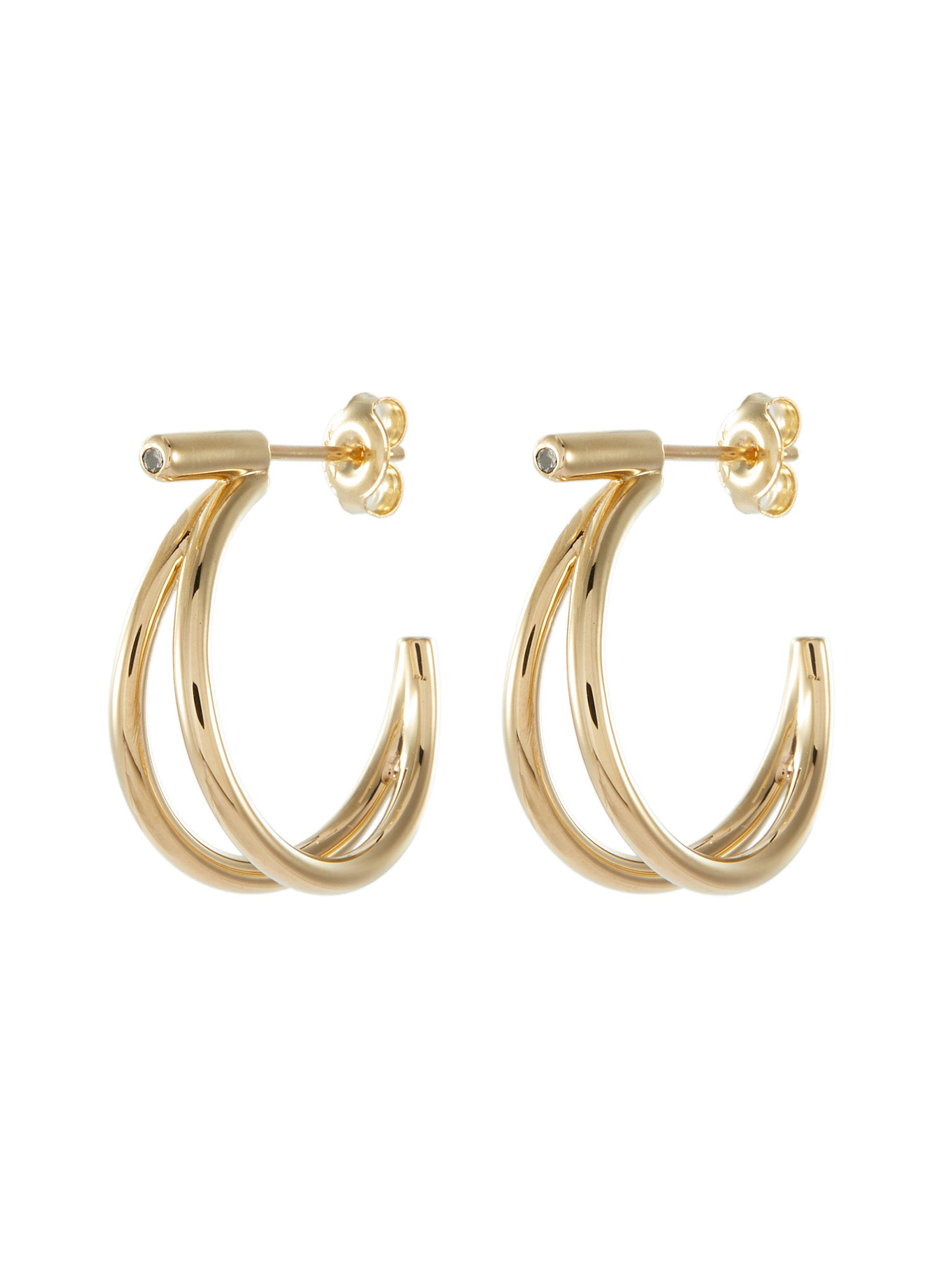 00ab211c43a973 HYÈRES LOR | 'Noailles' diamond 14k yellow gold double hoop earrings ...