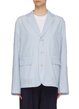 Main View - Click To Enlarge - THE KEIJI - Convertible button sleeve contrast back stripe blazer