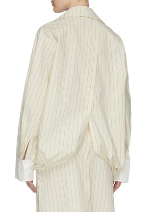 Back View - Click To Enlarge - DAWEI - Folded drape hem pinstripe shirt