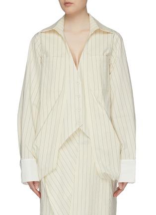 Main View - Click To Enlarge - DAWEI - Folded drape hem pinstripe shirt