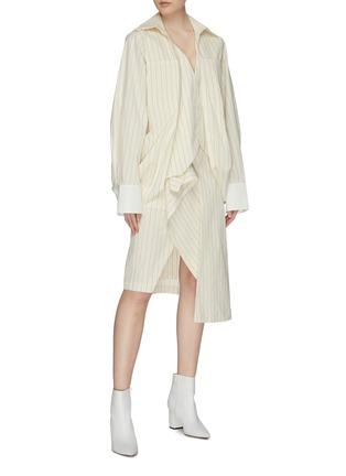 Figure View - Click To Enlarge - DAWEI - Folded drape hem pinstripe shirt