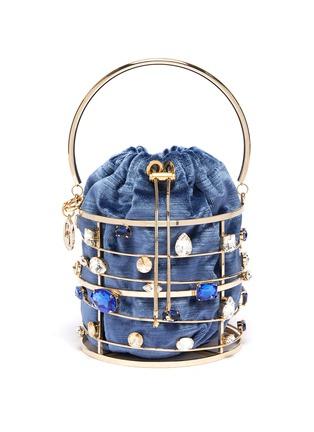 Main View - Click To Enlarge - ROSANTICA - 'Django' ring handle glass crystal caged bucket bag