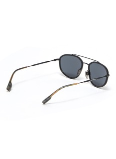 Burberry Tartan plaid tip metal aviator sunglasses