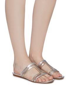 RODO PVC panel cutout metallic leather slide sandals