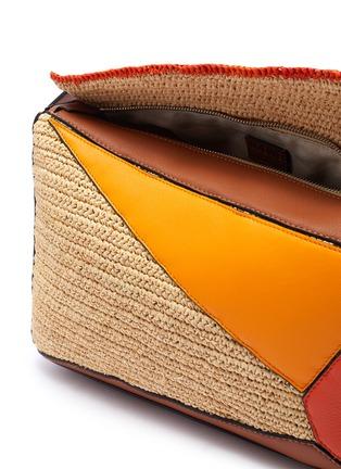 Detail View - Click To Enlarge - LOEWE - x Paula's Ibiza 'Puzzle' raffia panel leather bag