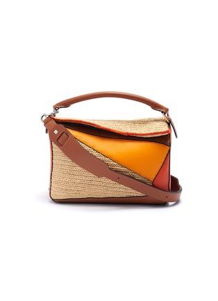 Main View - Click To Enlarge - LOEWE - x Paula's Ibiza 'Puzzle' raffia panel leather bag