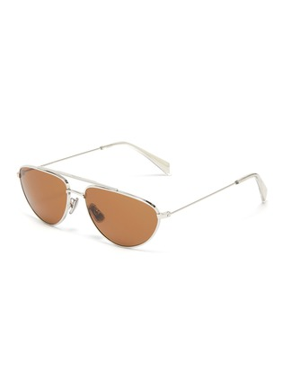 Main View - Click To Enlarge - CELINE - Metal narrow aviator sunglasses