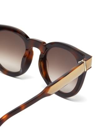 Detail View - Click To Enlarge - LOEWE - Leather padded rim tortoiseshell acetate round sunglasses