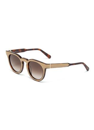Main View - Click To Enlarge - LOEWE - Leather padded rim tortoiseshell acetate round sunglasses