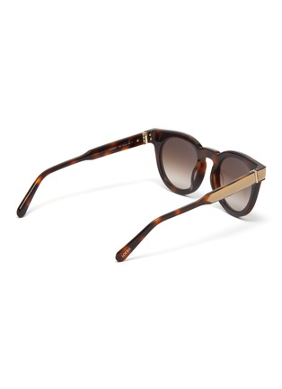 Figure View - Click To Enlarge - LOEWE - Leather padded rim tortoiseshell acetate round sunglasses