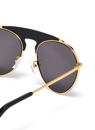 Detail View - Click To Enlarge - LOEWE - Leather top bar metal round aviator sunglasses