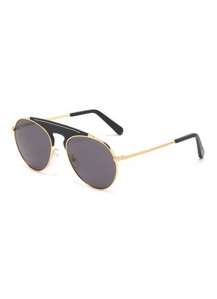 Main View - Click To Enlarge - LOEWE - Leather top bar metal round aviator sunglasses