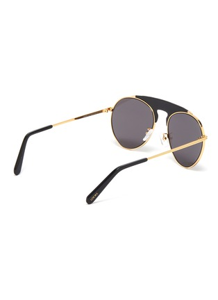 Figure View - Click To Enlarge - LOEWE - Leather top bar metal round aviator sunglasses