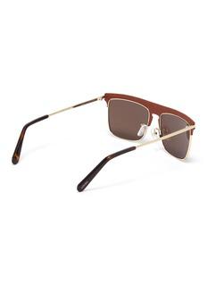 LOEWE Leather top bar metal square aviator sunglasses