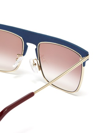 Detail View - Click To Enlarge - LOEWE - Leather top bar metal square aviator sunglasses