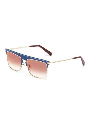 Main View - Click To Enlarge - LOEWE - Leather top bar metal square aviator sunglasses