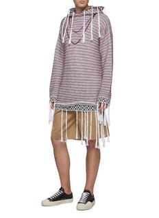 LOEWE x Paula's Ibiza fringe trim herringbone border stripe hoodie