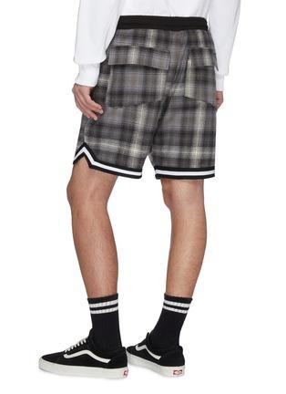 'Bball' stripe cuff tartan plaid shorts