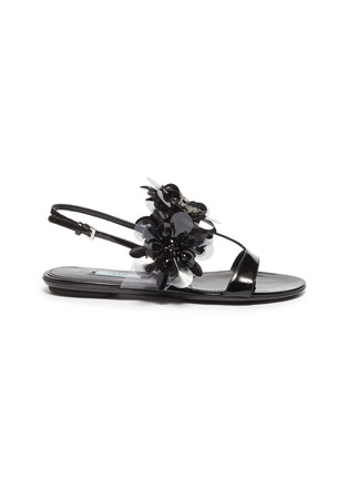 5e37511cb320 Prada. Embellished patent leather slingback sandals