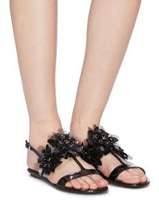 Prada Embellished patent leather slingback sandals
