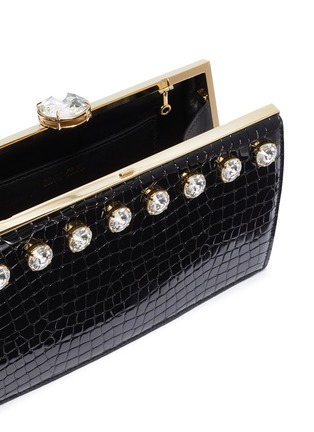 Detail View - Click To Enlarge - MIU MIU - Glass crystal stud croc embossed leather clutch