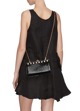 Front View - Click To Enlarge - MIU MIU - Glass crystal stud croc embossed leather clutch