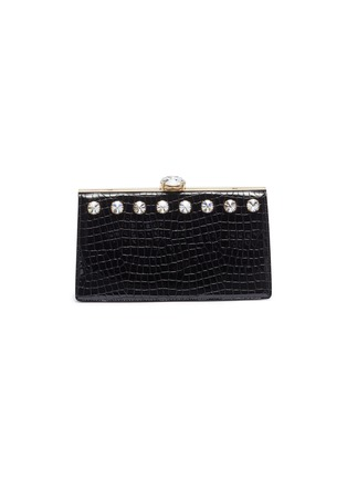 Main View - Click To Enlarge - MIU MIU - Glass crystal stud croc embossed leather clutch