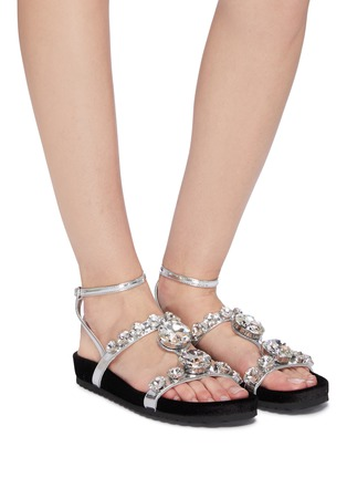 a16a91c710c Figure View - Click To Enlarge - Miu Miu - Glass crystal strappy metallic  leather sandals