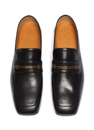 Detail View - Click To Enlarge - GUCCI - GG horsebit leather step-in loafers