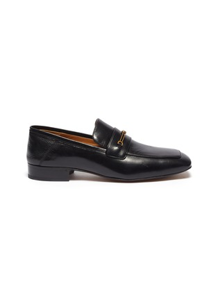 Main View - Click To Enlarge - GUCCI - GG horsebit leather step-in loafers